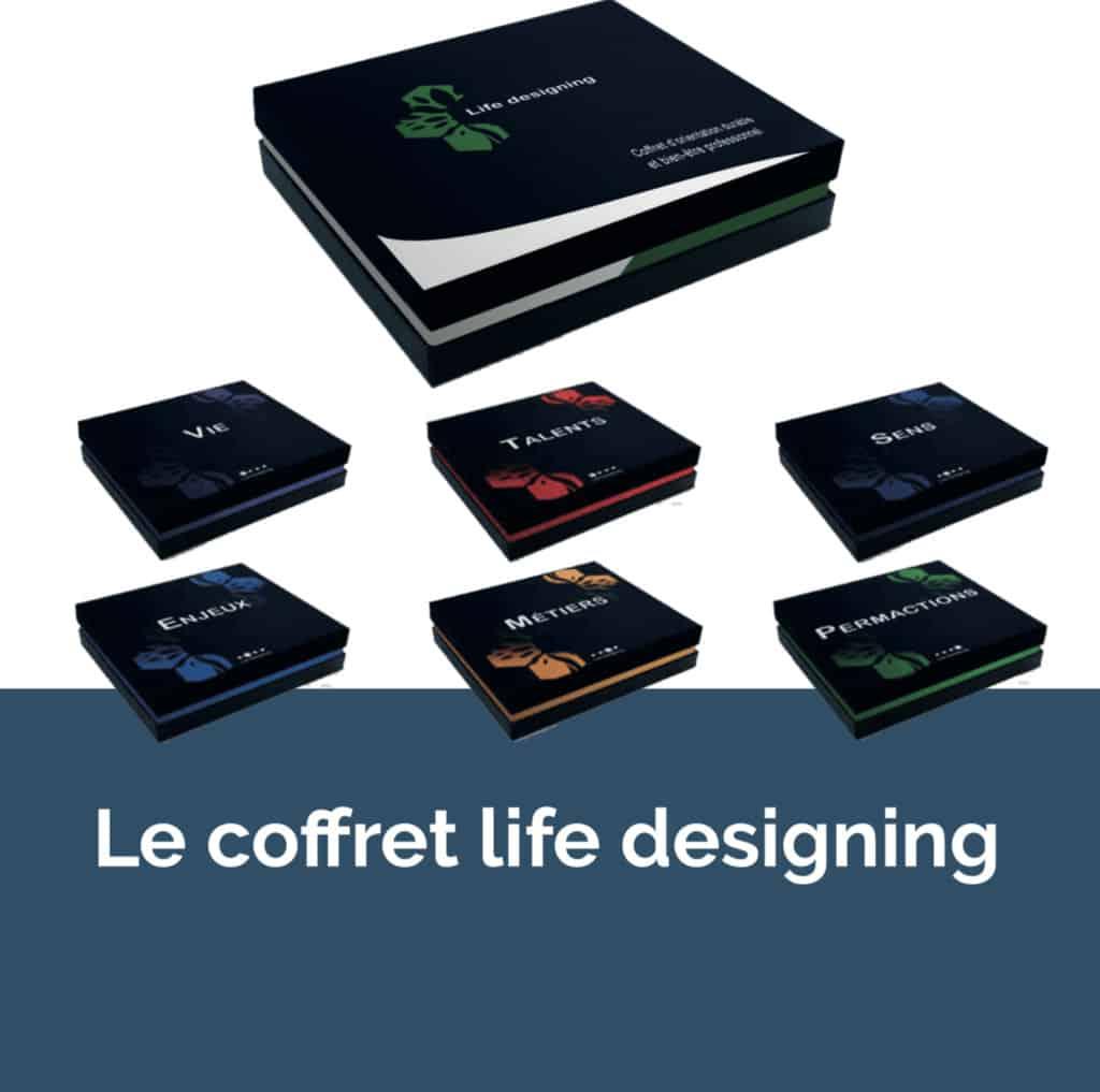 Le coffret du Life Designing, l'outil préféré des acteurs de l'orientation durable et du bien être professionnel